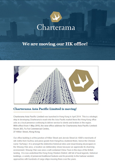 Newsletter moving HK office